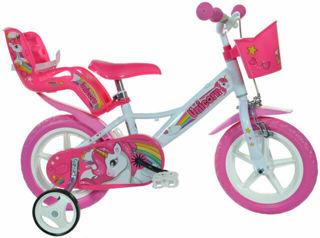 """Immagine di Bicicletta Per Bambina 12"""" Eva 1 Freno Unicorno Bianco E Rosa"""