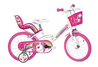 """Immagine di Bicicletta Per Bambina 16"""" 2 Freni Unicorno Bianco E Rosa"""