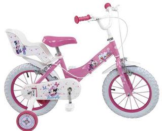 """Immagine di Bicicletta Minnie Mouse 14"""" Età 4/7 Anni Con Rotelle Cestino-3"""