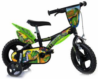 """Immagine di Bicicletta Per Bambino 12"""" Eva 1 Freno Dinosaur Nero E Verde"""