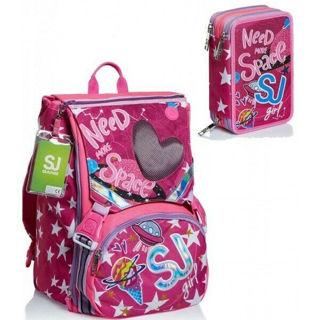 Immagine di Schoolpack Seven Ledtech Girl Zaino Estensibile Big Astuccio 3 Zip Attrezzato