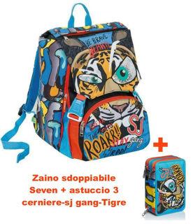 Immagine di Zaino Sdoppiabile Seven + Astuccio 3 Cerniere-sj Gang-primarie Elemntari -tigre
