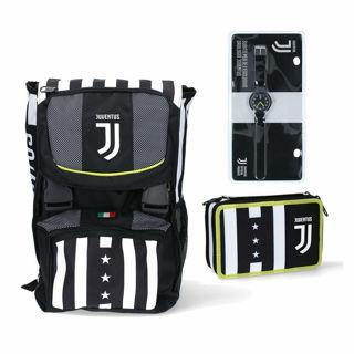 Immagine di Juventus Zaino Scuola + Astuccio 3 Cerniere-schoolpack -winner Forever-orologio