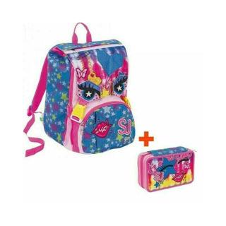 Immagine di Schoolpack Seven Facce Girl Zaino Estensibile + Astuccio 3 Zip Attrezzato Sj Gan