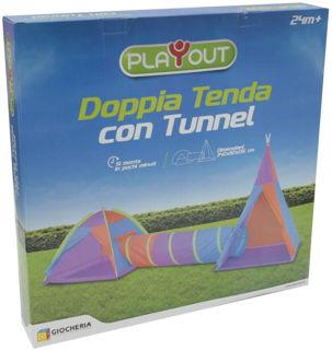 Immagine di Doppia Tenda Con Tunnel Per Esterni E Interni Di Giocheria