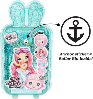 Immagine di Na Na Na Surprise 2-in-1 Bambola Alla Moda E Borsetta Di Peluche Morbida E Scintillante - Sailor Blu, 19 Cm Bambola Marinaia