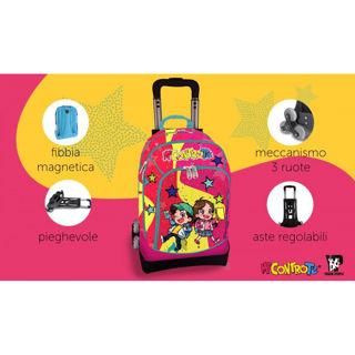 Immagine di Trolley Me Contro Te Staccabile Glitterato Rosa Fucsia E Giallo